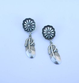 Punchy's Silver Post Concho Earring Feather Dangle