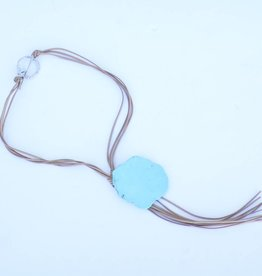 Punchy's Tan Leather Bolo Necklace Large Turquoise Stone