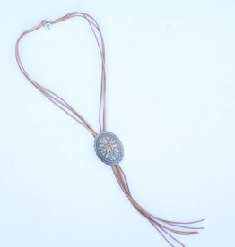 Punchy's Tan Leather Worn Silver Concho Bolo Tie Necklace