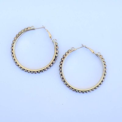 Punchy's Worn Gold Trimmed Hoop Earring