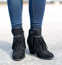 Punchy's Suede Ankle Bootie with Fringe