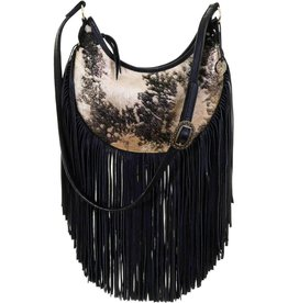 Punchy's Black and Gold Acid Wash Cowhide Hobo Bag with Fringe