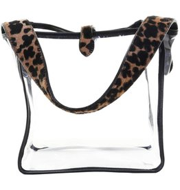 Punchy's Clear Square Tote Bag with Leopard Hair On Strap