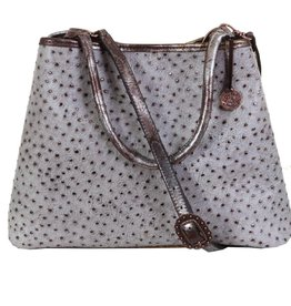 Punchy's Grey and Copper Ostrich Tote Bag