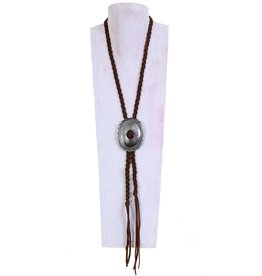 Punchy's Vestige Braided Brown Bomber Concho Necklace
