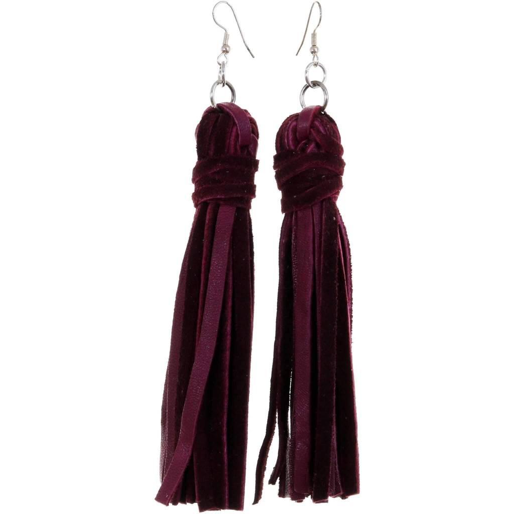 Punchy's Vestige Tassel Earrings in Wine Elk Leather