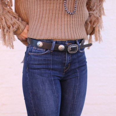 Punchy's Black Leather Concho Belt