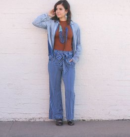 Punchy's Blue Pinstripe Belted Wide Leg Pants