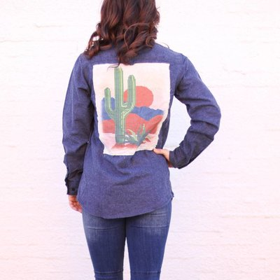 Punchy's Cactus Patch Long Sleeve Flannel Shirt