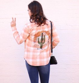 Punchy's Cactus Sunset Patch on Bleached Denim Shirt