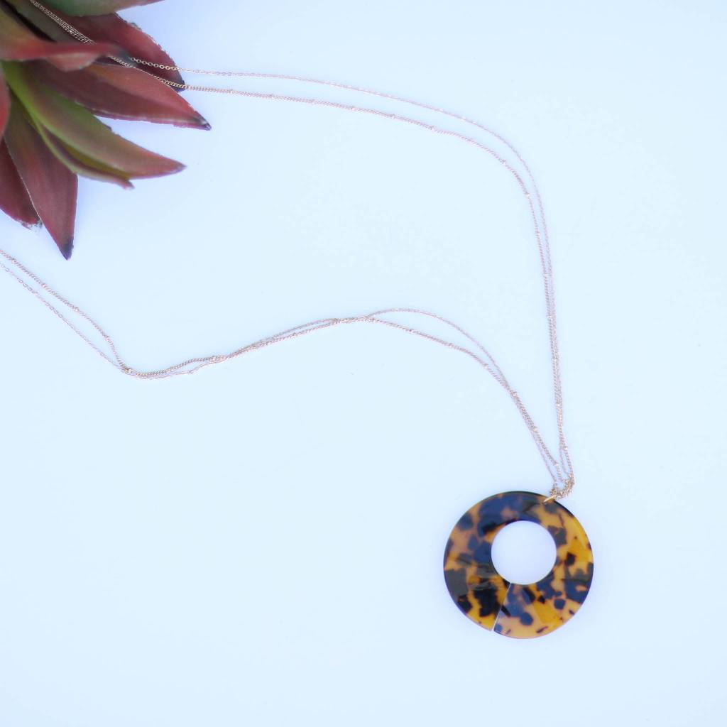 Punchy's Gold Chain Tortoise Shell Necklace