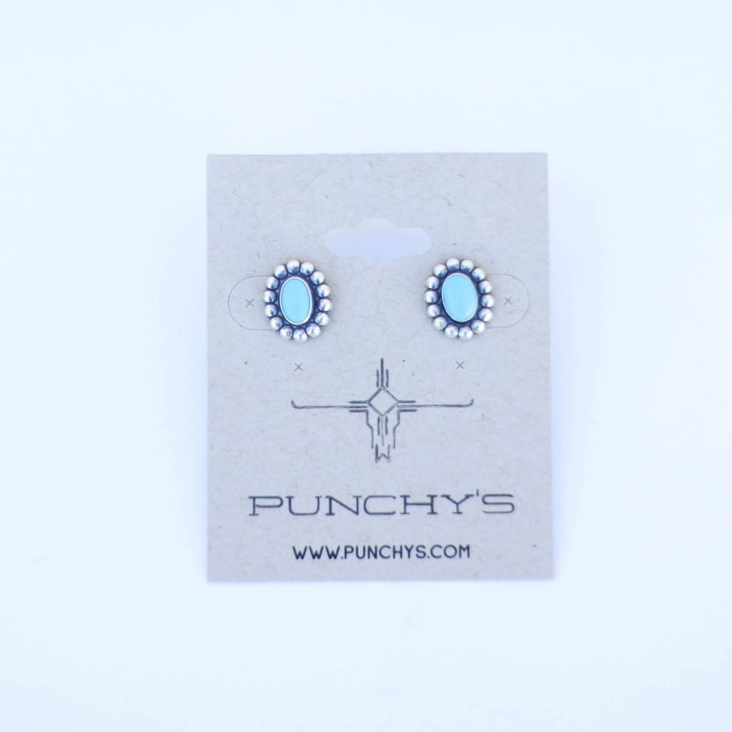 Punchy's Small Dotted Concho Stud with Turquoise