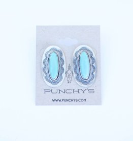 Punchy's Turquoise Stamped Oval Concho