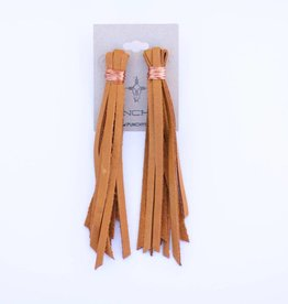 Punchy's Vestige Buckskin Leather Tassle Earrings with Copper Wire