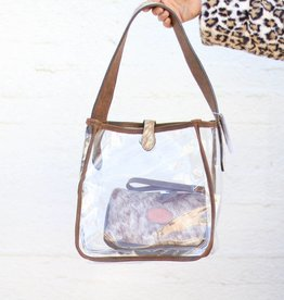 Punchy's Clear Square Tote Bag with Roan Cowhide Strap