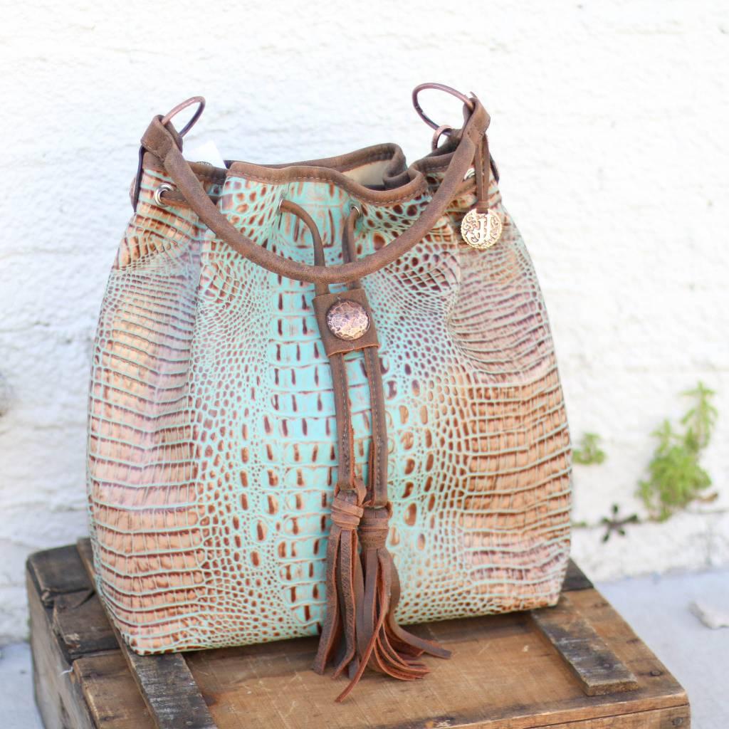 Punchy's Messenger Vintage Mint Croc Tote Bag