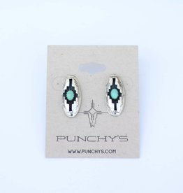 Punchy's Turquoise Aztec Oval Stud
