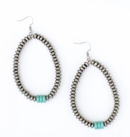Punchy's Silver and Turq Disk Teardrop Earring