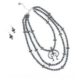Punchy's 3 Strand Faux Smoke Pearl Necklace Set with Naja Pendant
