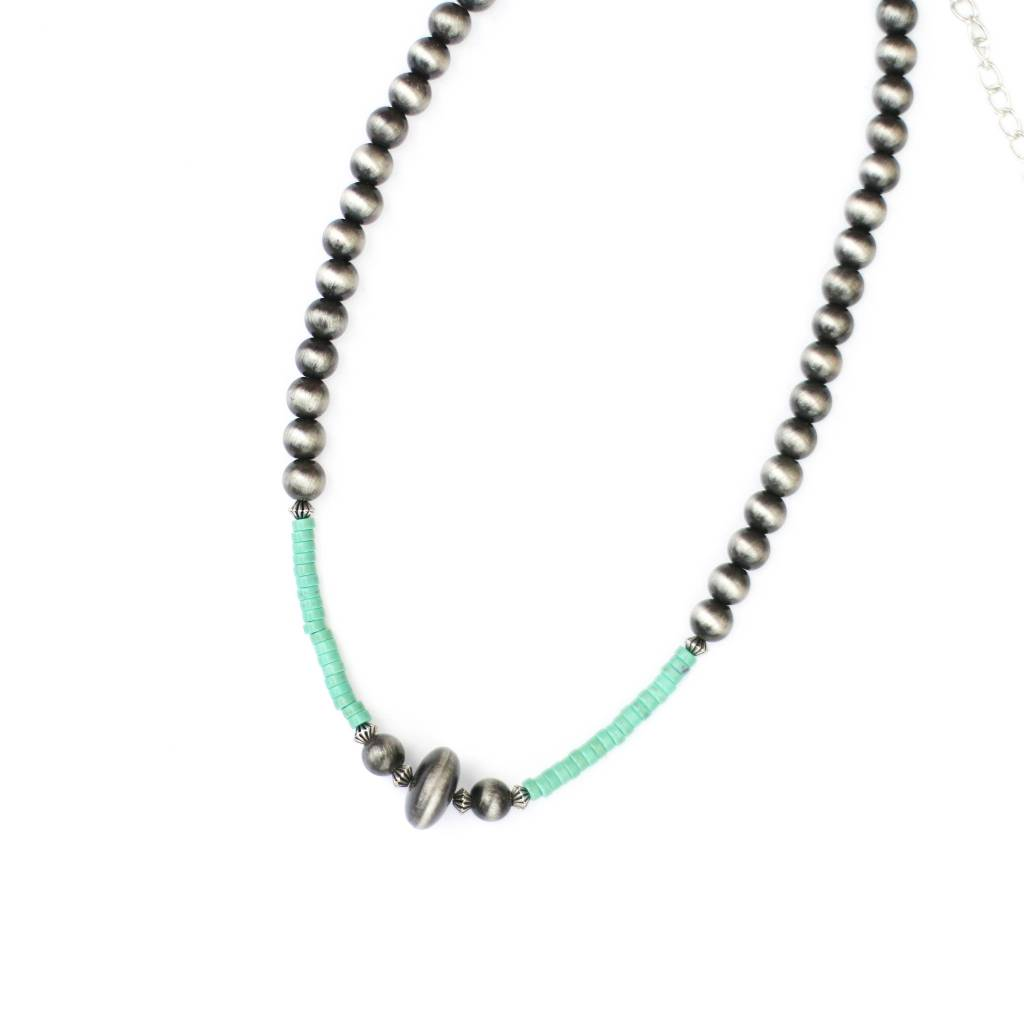 "Punchy's 18"" Faux Smoke Pearl and Turquoise Necklace"