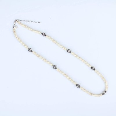 """Punchy's 32.5"""" Silver Melon Bead and Ivory Necklace"""