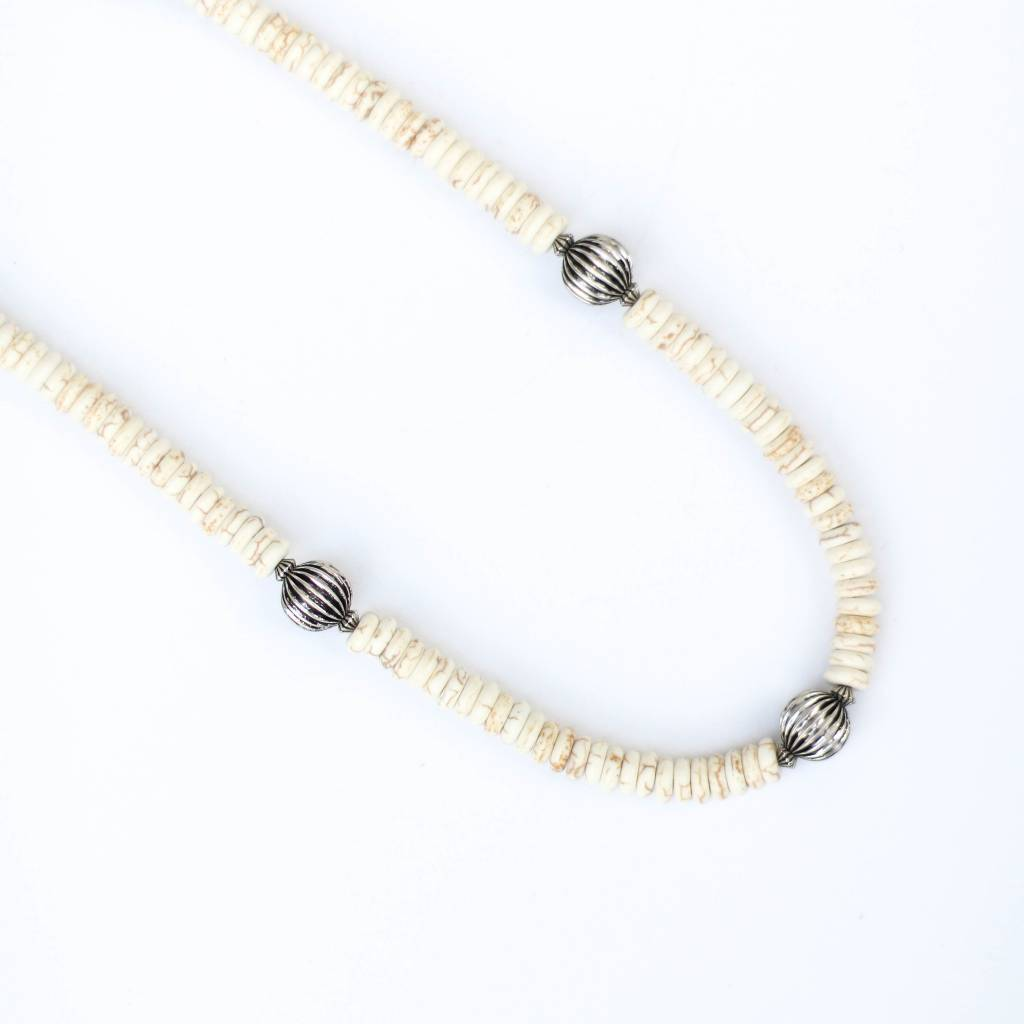 "Punchy's 32.5"" Silver Melon Bead and Ivory Necklace"