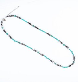 "Punchy's 34"" Faux Smoke Pearl Necklace with Turquoise Accents"