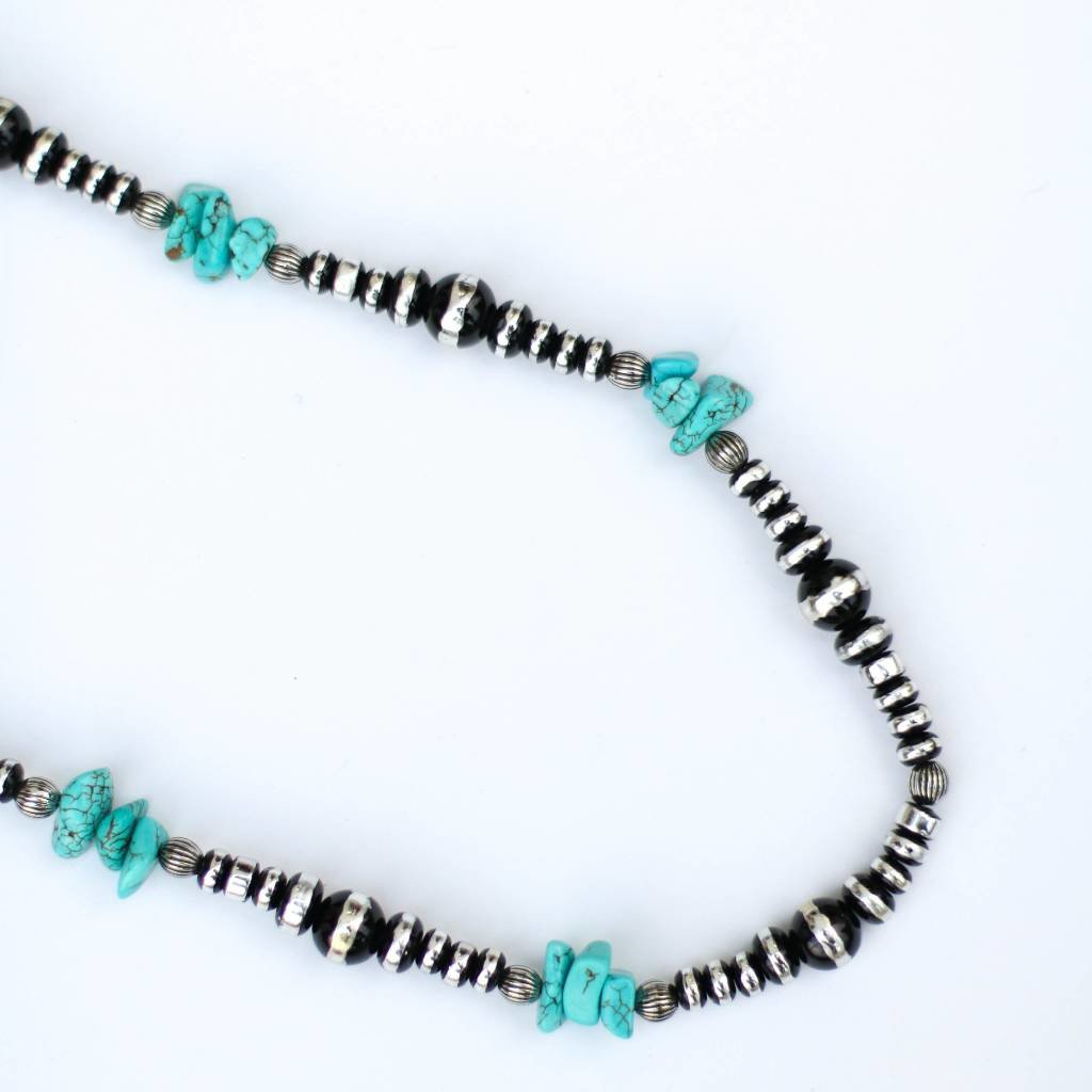"""Punchy's 34"""" Round Faux Oxi with Turquoise Alternating Size Necklace"""