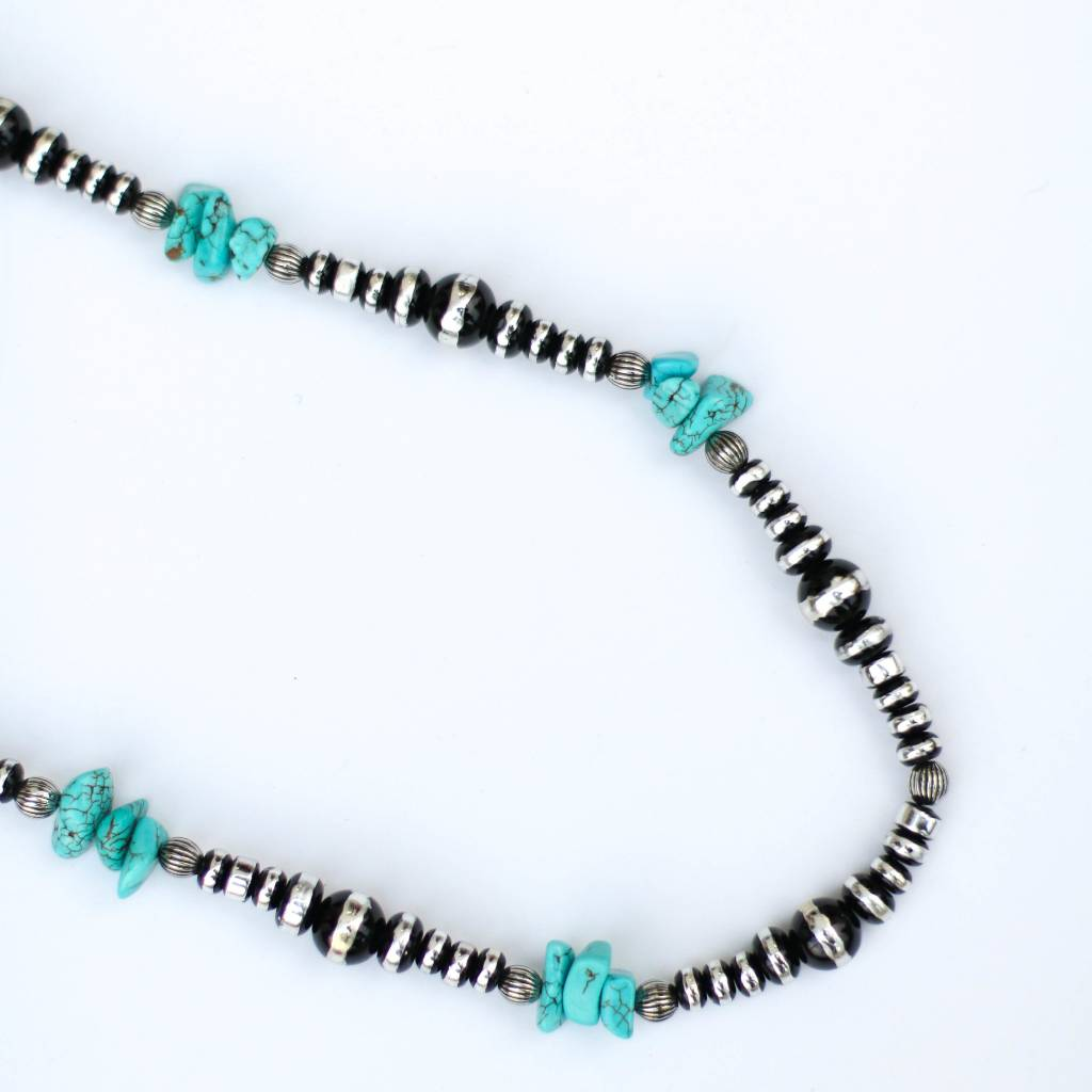 "Punchy's 34"" Round Faux Oxi with Turquoise Alternating Size Necklace"