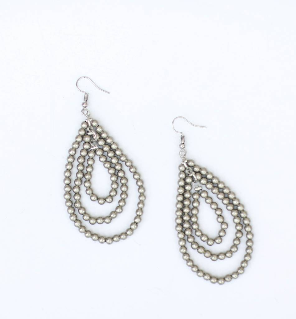 Punchy's Burnished Silver 3 Tier Teardrop Earring