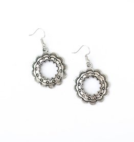 Punchy's Burnished Silver Round Sampled Earring