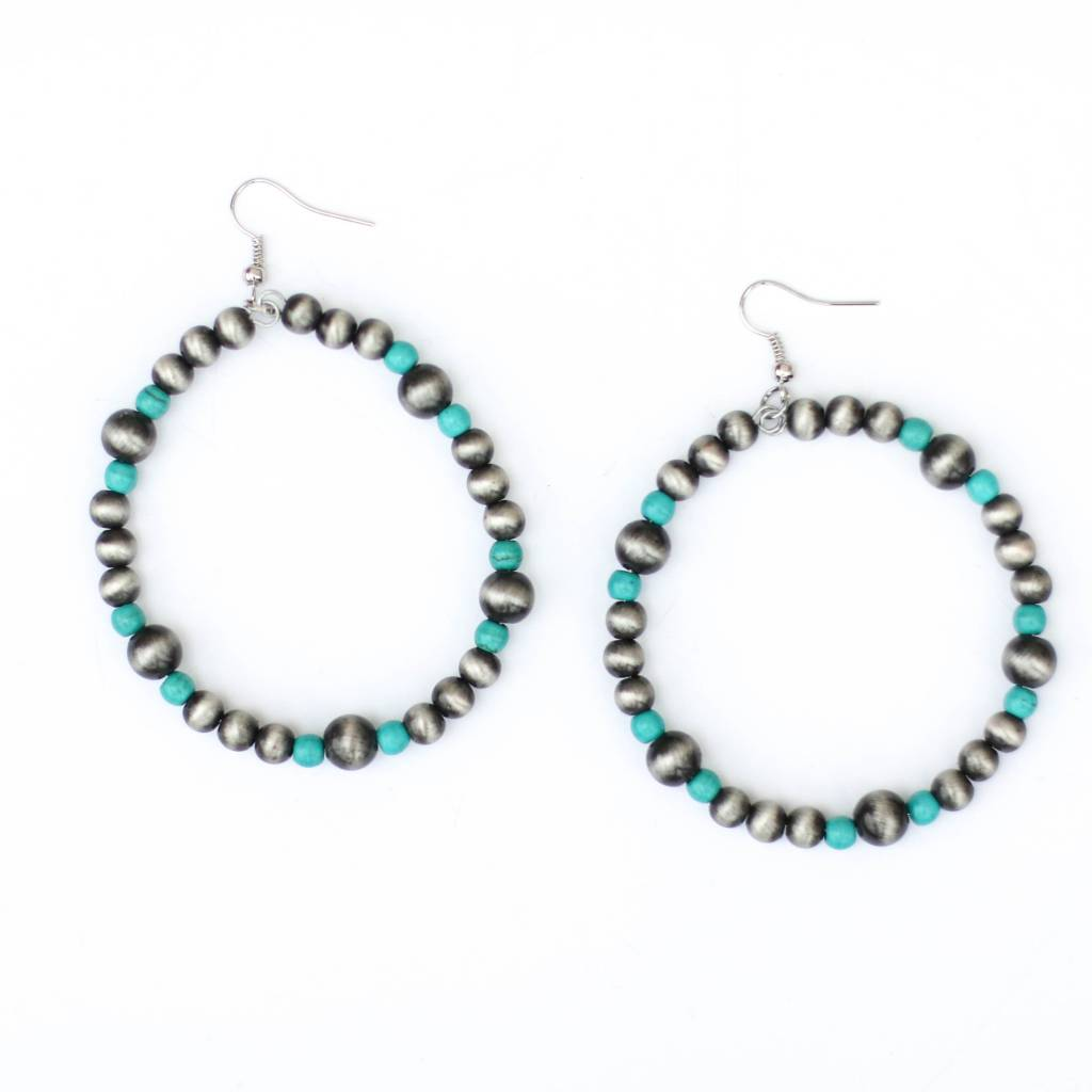 Punchy's Faux Smoke Pearl and Turquoise Dangle Hoop Earrings
