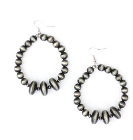Punchy's Faux Smoke Pearl Dangle Hoop Earrings