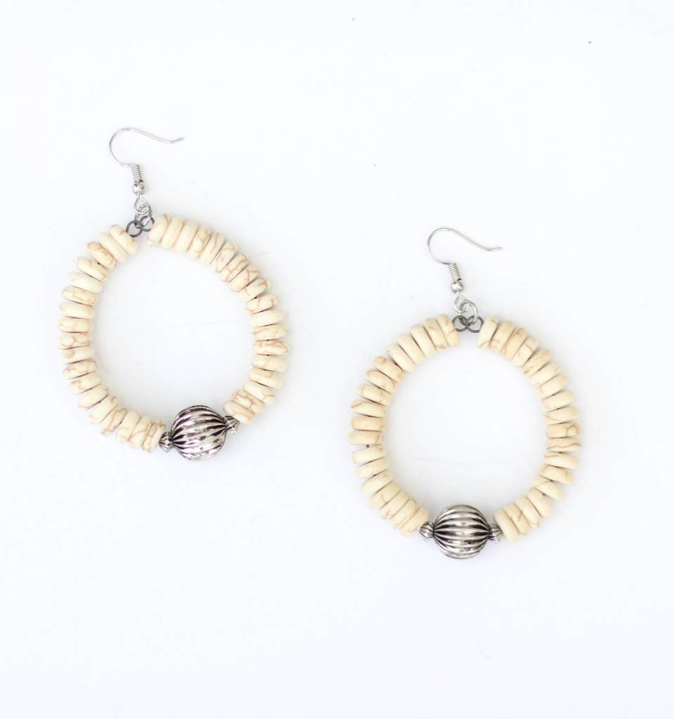 Punchy's Ivory Beaded Teardrop Earring with Burnished Silver Accent