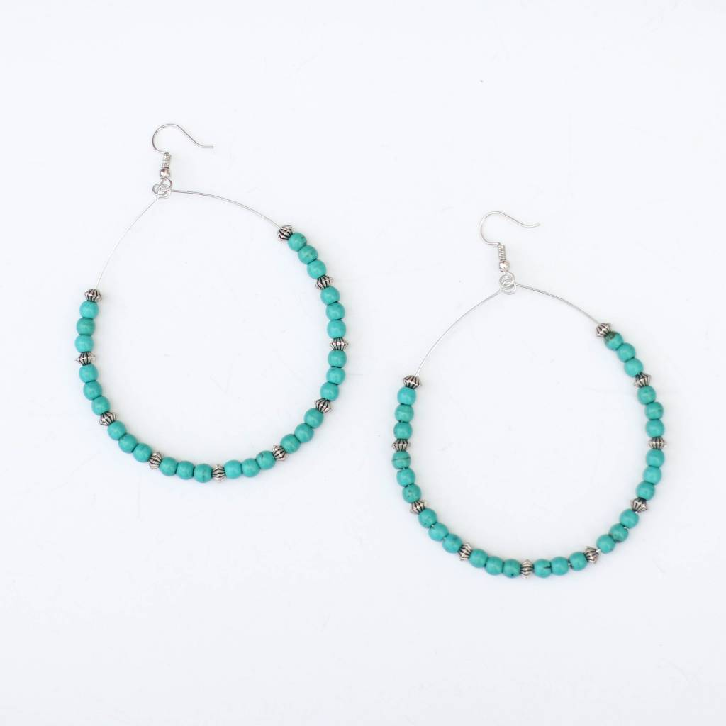 Punchy's Large Hoop with Turquoise and Burnished Silver Earring