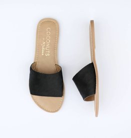 Punchy's Black Cowhide Slide Sandals