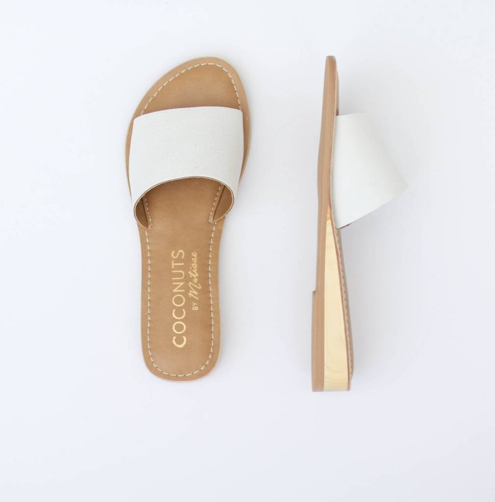 Mini Wedge White Leather Slip on