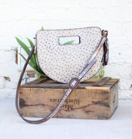 Punchy's Grey & Copper Ostrich Half Circle Clutch