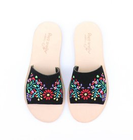 Punchy's Black Embroidered Floral Flat