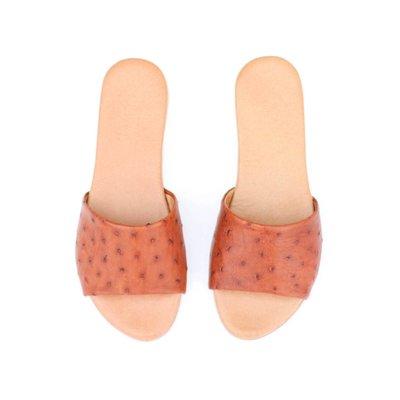 Punchy's Cognac Ostrich Sandal