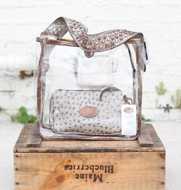 Punchy's Square Tote Bag in Vintage Metallic Leather with Studs on Strap
