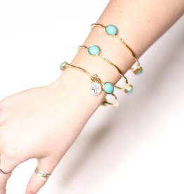 Punchy's Set of 3 Burnished Gold Bangles with Turquoise Ovals