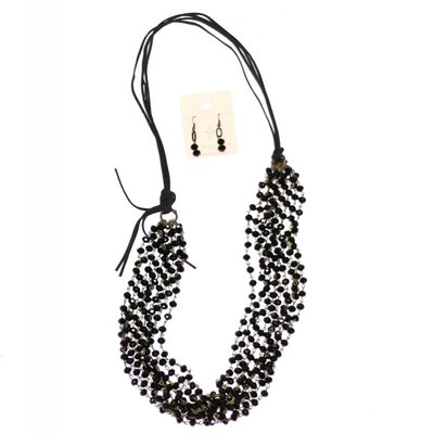 Punchy's Multi Strand Black Crystal Chain Necklace Set with Leather