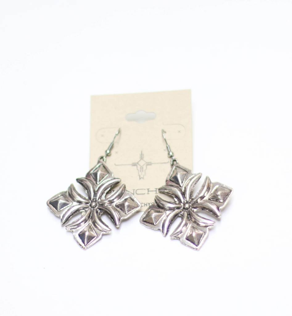 Punchy's Burnished Silver Diamond Shaped Earring
