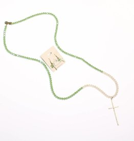Punchy's Green and Tan Sparkle Beaded Necklace Set with Gold Cross