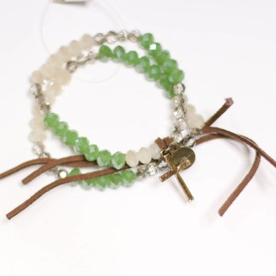 Punchy's Green Sparkle and Leather Tie Stretch Bracelet