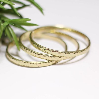 Punchy's Set of 3 Round Hammered Gold Bangles