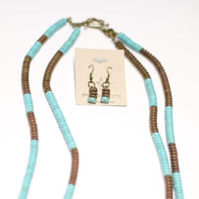 Punchy's TQ and Antique Gold Flat Bead 2 Strand Necklace Set