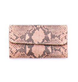Punchy's Italian Leather Dusty Rose Snakeskin Clutch