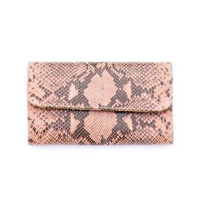 Punchy's Italian Leather Dusty Rose Snakeskin Clutch